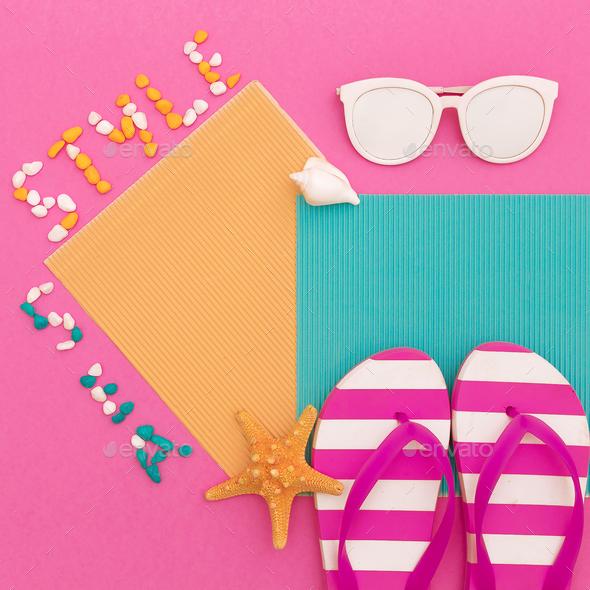 Beach style. Shells. Sunglasses. Flip-flop Minimal art design - Stock Photo - Images