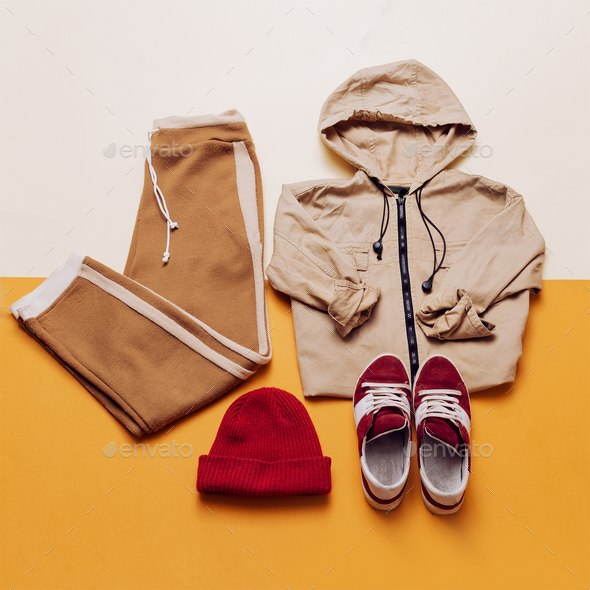 Urban Style Clothing. Skateboard fashion outfit. - Stock Photo - Images