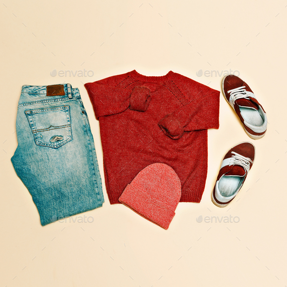 Urban clothing set. Sweater jeans shoes cap - Stock Photo - Images