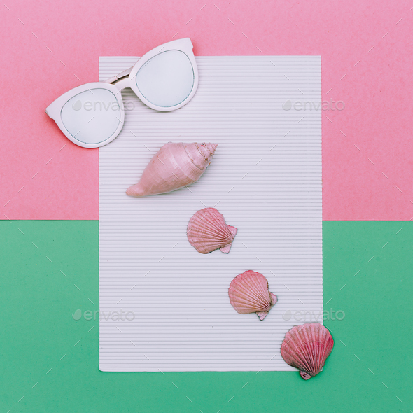Sunglasses and seashells. Ocean Vacation Summer Minimal style - Stock Photo - Images