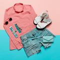 Stylish clothes. Pink jacket and denim shorts. Minimal. White Sa - PhotoDune Item for Sale