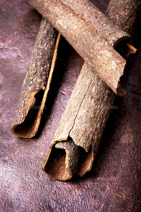 three cinnamon sticks - Stock Photo - Images