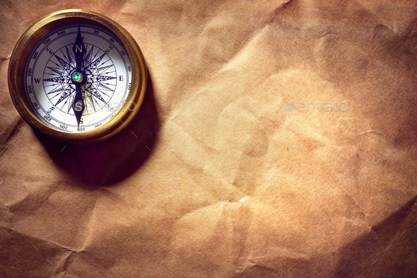 Antique golden compass - Stock Photo - Images