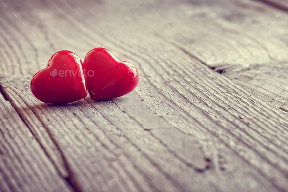 Two valentines day hearts in love - Stock Photo - Images