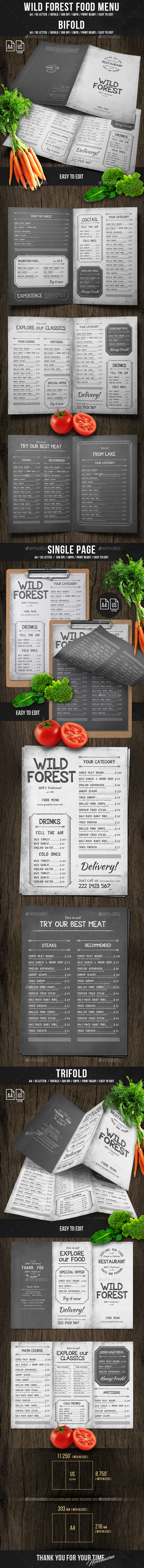 Wild Forest Food Menu Bundle - Food Menus Print Templates