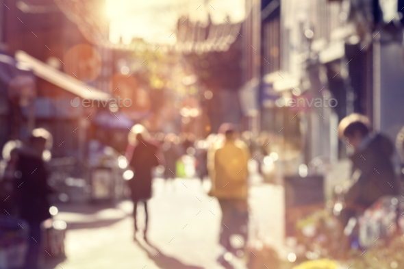 Crowd of shoppers walking and shopping on a high street - Stock Photo - Images