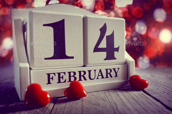 Valentines day calendar showing14  February - Stock Photo - Images