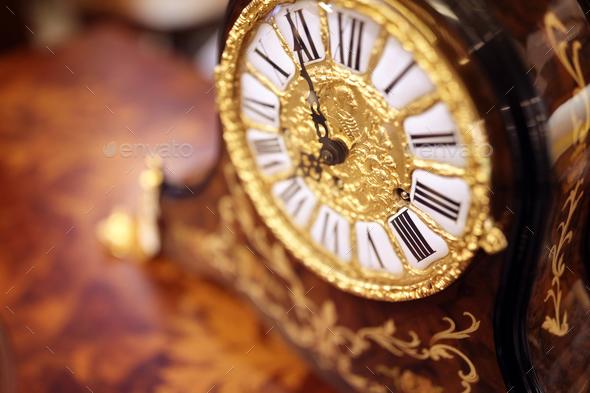 Antique ornate clock background - Stock Photo - Images