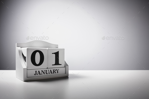 January 1st calendar background concept for new year - Stock Photo - Images