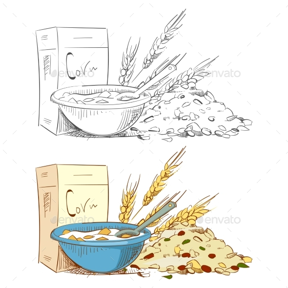 Sketch Porridge Corn Flakes and Muesli Isolated - Food Objects