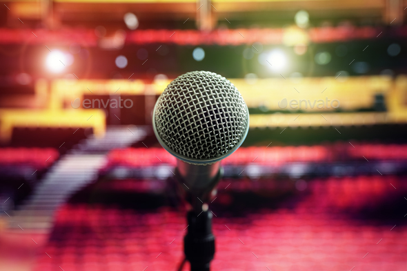 Microphone on stage in concert hall theater - Stock Photo - Images