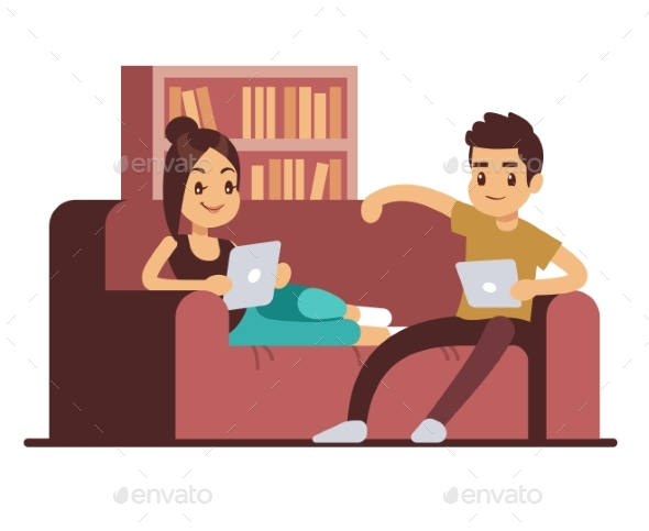 Couple on Sofa with Tablets - People Characters