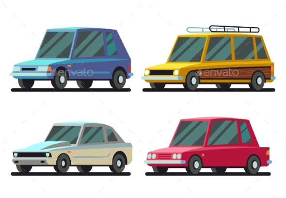 Cartoon Sports and Travel Cars Vector Set - Man-made Objects Objects