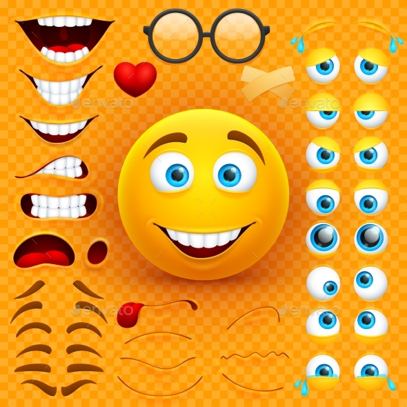 Cartoon Yellow 3d Smiley Face Vector Character - Miscellaneous Characters