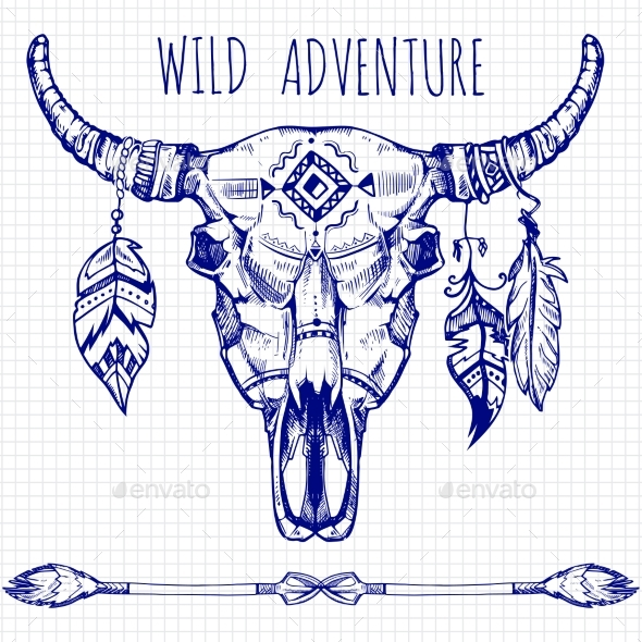 Hand Drawn Buffalo Skull with Feathers and Arrows - Miscellaneous Vectors