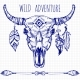 Hand Drawn Buffalo Skull with Feathers and Arrows - GraphicRiver Item for Sale