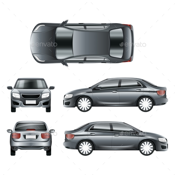 Color Car Sedan in Different Point of Views Vector - Man-made Objects Objects