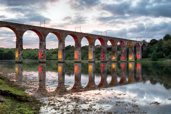 Royal Border Bridge at Baerwick on Tweed - Stock Photo - Images