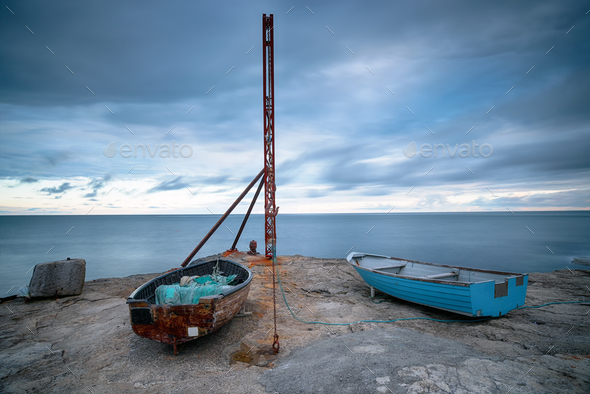 Boats on Portland Bill - Stock Photo - Images