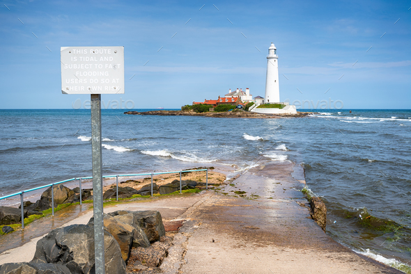 St Mary's Lighthouse in Northumberland - Stock Photo - Images