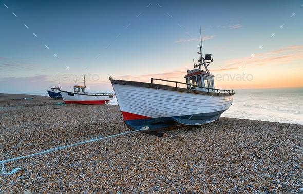 Fishing Boats at Dawn - Stock Photo - Images