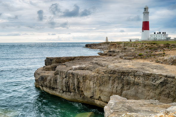 Moody Sky over Portland Bill Lighthouse - Stock Photo - Images