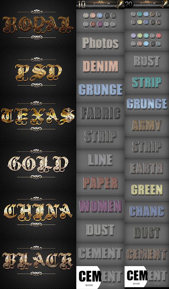 40 Bundle 3D Text Styles D47-D50 - Text Effects Styles