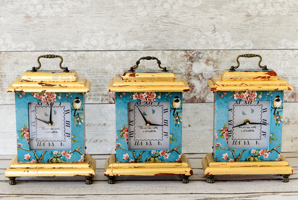 Decoupaged Clocks - Stock Photo - Images