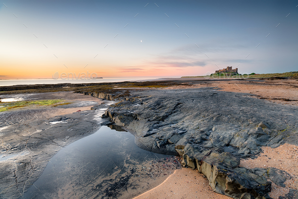 The Beach at Bamburgh Castle - Stock Photo - Images