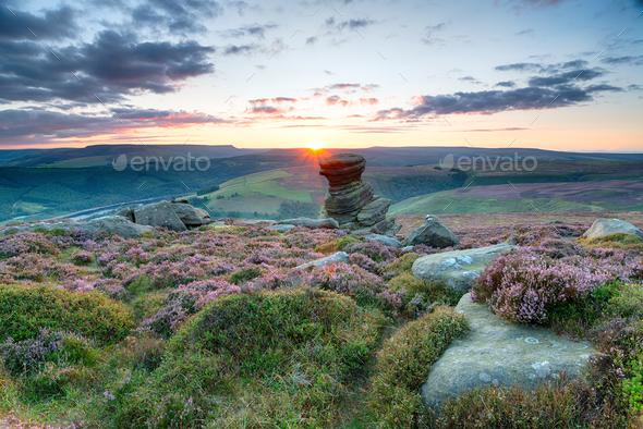 Sunset on Derwent Edge - Stock Photo - Images
