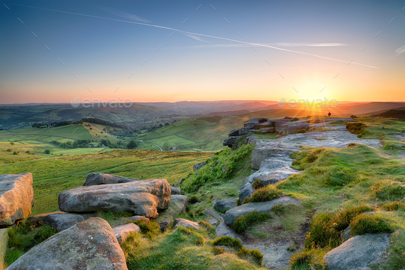Sunset from Higger Tor - Stock Photo - Images