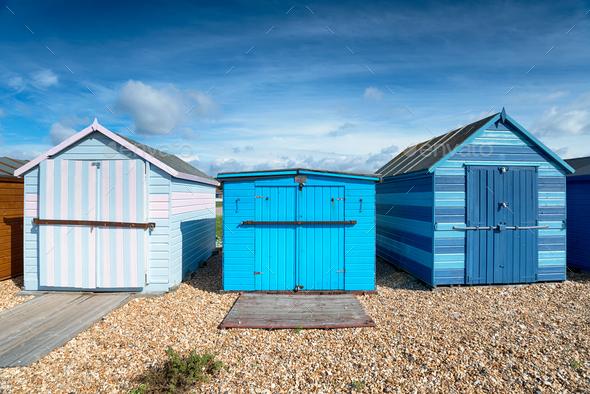 Hayling Island Beach Huts - Stock Photo - Images