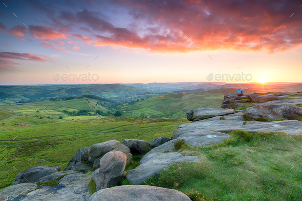 Stunning Sunset From Higger Tor - Stock Photo - Images