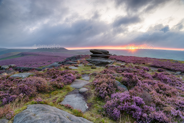 Over Owler Tor in the Peak District - Stock Photo - Images