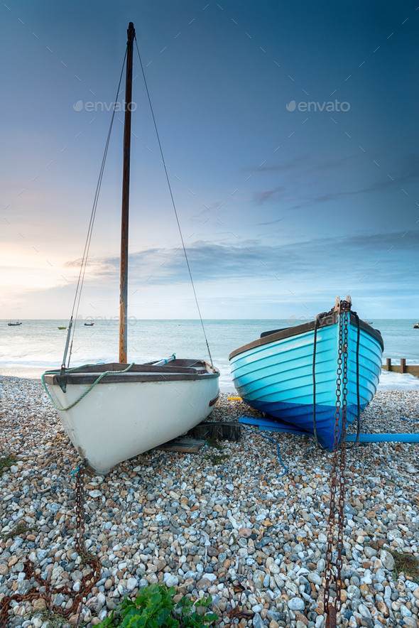 Boats on the Beach at Selsey - Stock Photo - Images