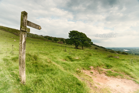 Footpath Sign in the Peak District - Stock Photo - Images
