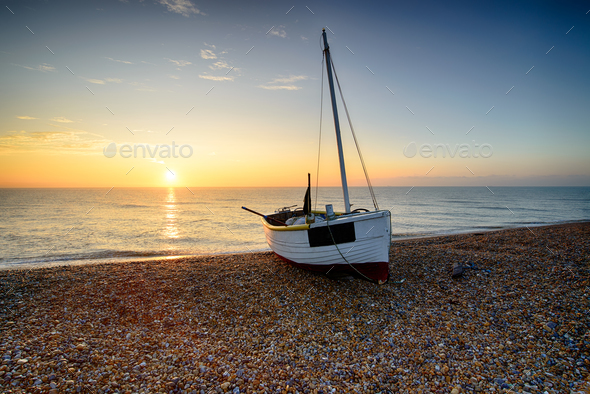 Beautiful Sunrise at Dungeness Beach - Stock Photo - Images