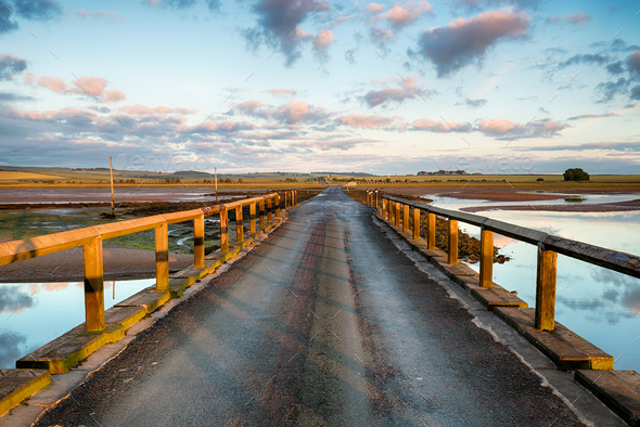 Lindisfarne Causeway - Stock Photo - Images