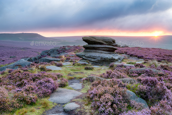 Sunrise at OVer Owker Tor - Stock Photo - Images