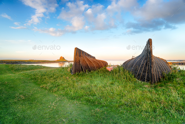Lindisfarne Boats - Stock Photo - Images