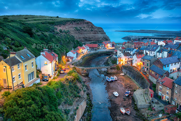 Nightfall over Staithes - Stock Photo - Images