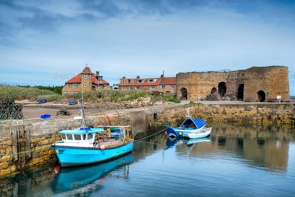 Fishing Boats at Beadnell - Stock Photo - Images