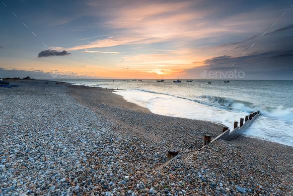 Sunrise at Selsey Beach - Stock Photo - Images