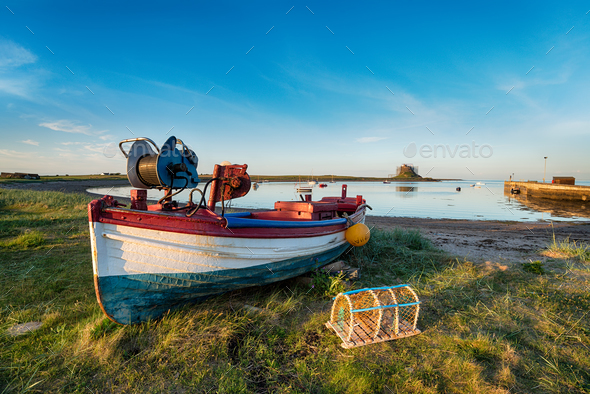 Boats at Lindisfarne - Stock Photo - Images