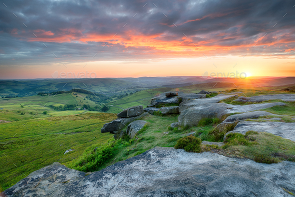 Dramatic Sunset over Higger Tor - Stock Photo - Images