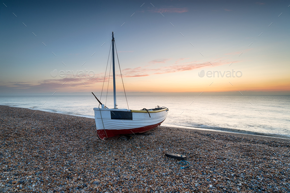 Fishing Boat at Dungeness Beach - Stock Photo - Images
