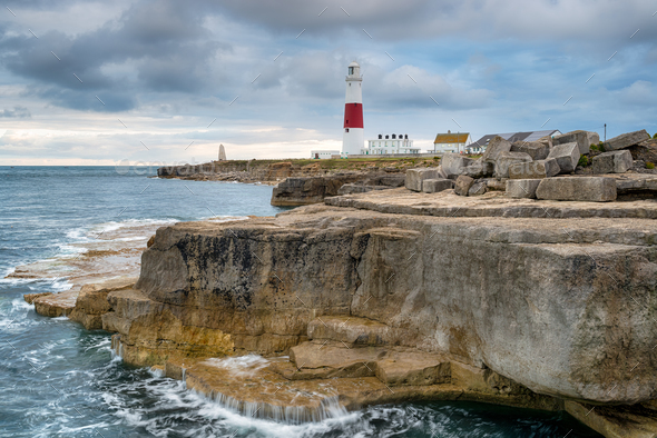 Portland Bill Lighthouse in Dorset - Stock Photo - Images