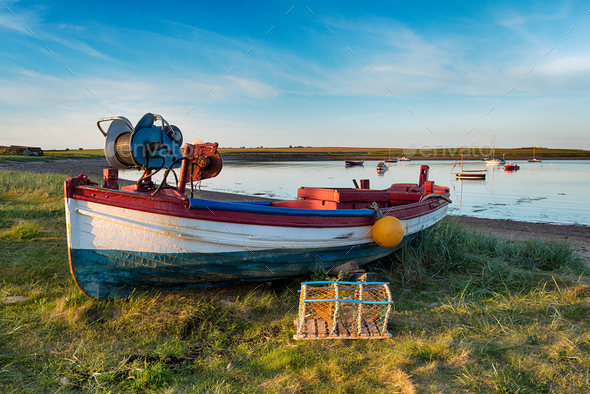 Fishing Boat at Holy Island - Stock Photo - Images