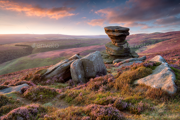 The Salt Cellar on Derwent Edge in the Peak District - Stock Photo - Images