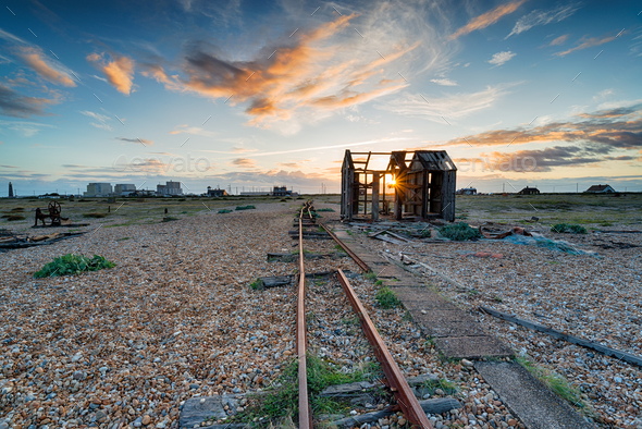 Sunset over the Net Hut - Stock Photo - Images